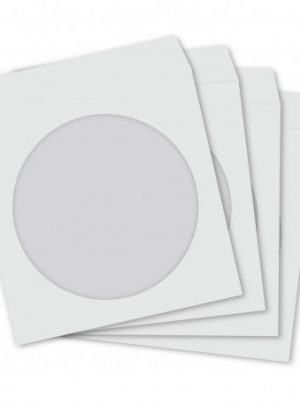 CD/DVD WHITE PAPER SLEEVES W/CLEAR WINDOW 100 PACK